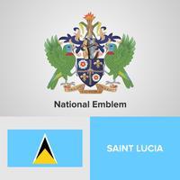 Emblema nacional de Santa Lúcia, mapa e bandeira vetor