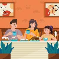 família comendo junta em casa vetor