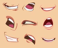 Conjunto de expressões de boca dos desenhos animados. Ilustração vetorial vetor
