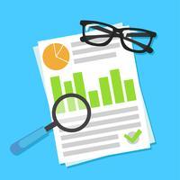 Banner de planejamento de negócios. Local de trabalho com documentos, dinheiro, óculos, calculadora. Ilustração em vetor plana