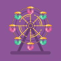 Ilustração plana de carnaval de parque de diversões. Ilustração de parque de diversões com uma roda gigante