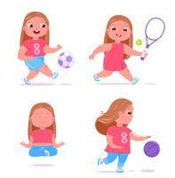 Menina bonito está envolvida em diferentes tipos de esportes. Ela joga futebol, basquete com bola, medita e faz yoga e também lida com tênis. Rotina saudável diária. Vetorial, caricatura, ilustração