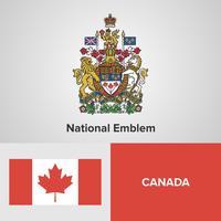 Emblema nacional do Canadá, mapa e bandeira vetor