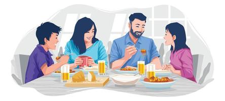 reunião de família no conceito de café da manhã vetor