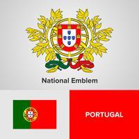 Emblema nacional de Portugal, mapa e bandeira vetor