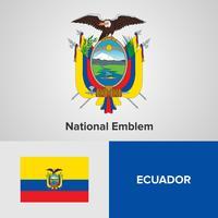 Emblema nacional do Equador, mapa e bandeira vetor