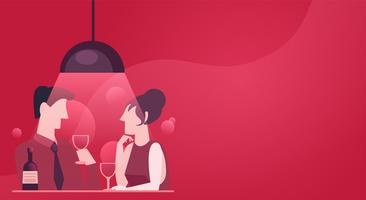 Um encontro rápido de um casal apaixonado. Jantar à noite com vinho. Ilustração vermelha rosa elegante no apartamento