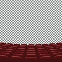 filas de assentos vermelhos de cinema em fundo transparente vetor
