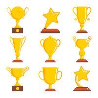 Campeões prêmios ícones vencedor. vetor