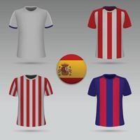 kit de futebol dos clubes espanhóis, modelo de t-shirt. camisa de futebol. vetor