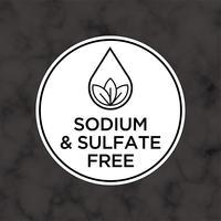 Ícone livre de sódio e sulfato para rótulos de shampoo, máscara, condicionador e outros produtos de cabelo. vetor