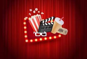cortina vermelha e material de entretenimento vetor