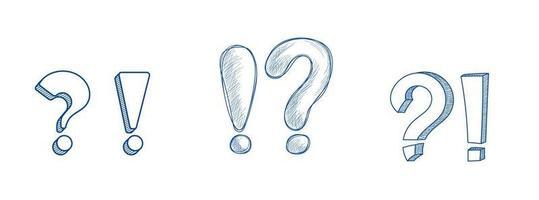 símbolos tipográficos de exclamação e pergunta com três estilos vetor