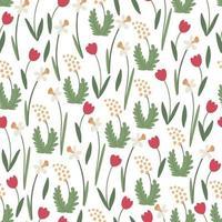Primavera floral padrão sem emenda com tulipas, narcisos e mimosa vetor