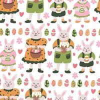 padrão sem emenda de primavera com família de coelho da páscoa vetor