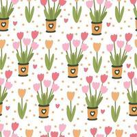 Primavera floral padrão sem emenda com flores de tulipa em vasos vetor