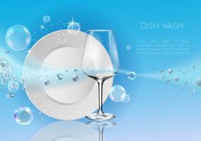 Um prato limpo e copo de vinho em bolhas de sabão e respingos de água. vetor
