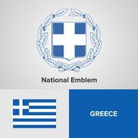 Emblema nacional da Grécia, mapa e bandeira vetor