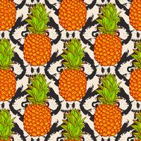 Fundo de abacaxis tropicais vetor