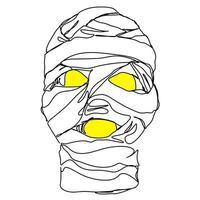 linha contínua múmia assustadora no dia das bruxas vetor