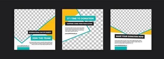 modelo de postagem de mídia social para o dia internacional da campanha de caridade. vetor