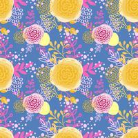 Flores sem costura vintage padrão mão desenhada vetor