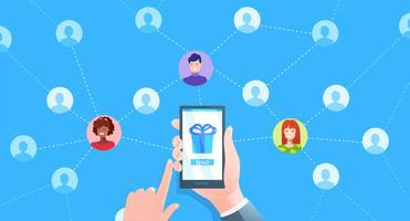 Banner de marketing de referência. Mão com telefone e usuários avatat. Vetorial, caricatura, ilustração vetor
