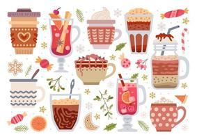 conjunto de bebidas quentes de inverno fofo. ilustração vetorial vetor