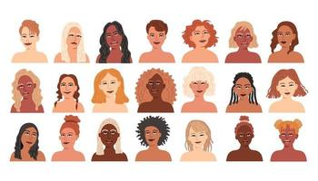 conjunto de mulheres de diferentes nacionalidades. avatares de garotas vetor