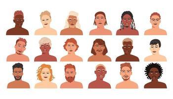 conjunto de homens de diferentes nacionalidades. avatares de menino vetor