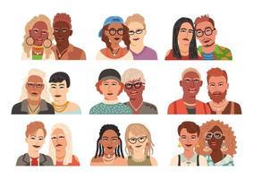 conjunto de avatares modernos de casais. coleção de retratos planos vetor