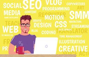 Tipo freelance. O homem senta-se no portátil e bebe-se o café no copo vermelho. Escolha um trabalho na web ou programação ou TI ou web design. Vetorial, caricatura, ilustração vetor