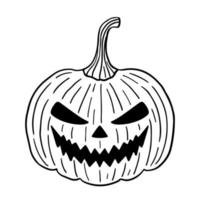 abóbora assustadora de halloween isolada no fundo branco em estilo doodle vetor