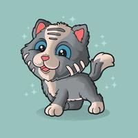 gatinho fofo e ilustração de animal engraçado estilo grunge vetor
