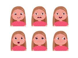 Conjunto de adesivo de emoção personagem menina pequena. Rosto da criança é triste e feliz e assustado. ilustração dos desenhos animados vetor