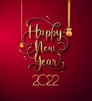 design de tipografia de letras manuscritas para o ano novo de 2022 vetor