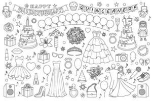 conjunto de doodle de aniversário de menina vetor