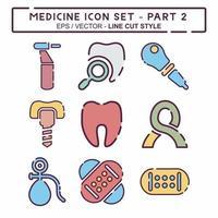 definir vetor de ícone do medicamento parte 2 - estilo de corte de linha