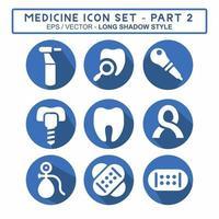 definir vetor de ícone do medicamento parte 2 - estilo sombra longa