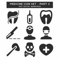 definir vetor de ícone do medicamento parte 3 - estilo glifo