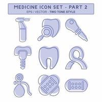 definir vetor de ícone do medicamento parte 2 - estilo de dois tons