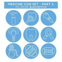definir vetor de ícone do medicamento parte 2 - estilo olhos azuis