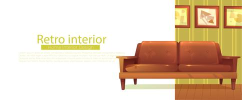Seu novo banner em casa. Sofá retrô e mesa de café. Vetorial, caricatura, ilustração