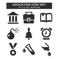 definir vetor de ícone de educação - estilo glifo