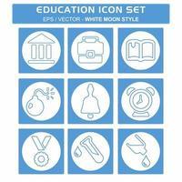definir vetor de ícone de educação - estilo lua branca