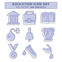 definir vetor de ícone de educação - estilo de dois tons