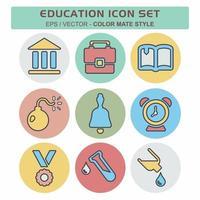 definir vetor de ícone de educação - estilo companheiro de cor