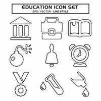 definir vetor de ícone de educação - estilo de linha