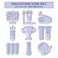 definir vetor de ícone de educação 1 - estilo de dois tons