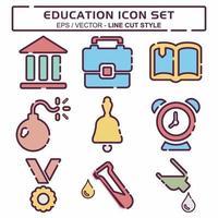 definir vetor de ícone de educação - estilo de corte de linha